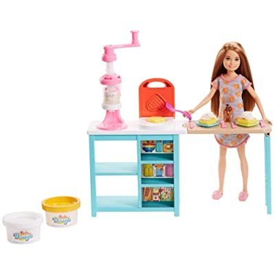 Barbie Breakfast Playset with Stacie Doll, Waffle-Maker, Whip Cream Machine & 2 Dough Colors: Toys & Games