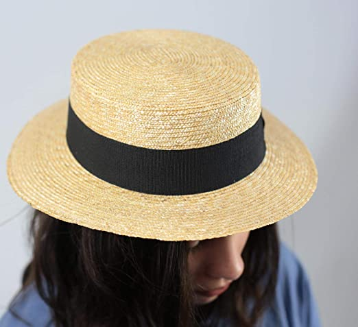 Classic Italy  Men/'s Canotier Large Boater Hat Wide Brim  Gondolier Straw