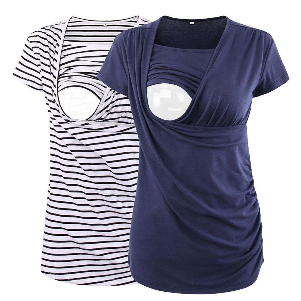 Jinson Women's Ruched Side-Shirred Nursing Top Short Sleeve Breastfeeding Tee Shirt, White Black Stripe/Ink Blue, Medium