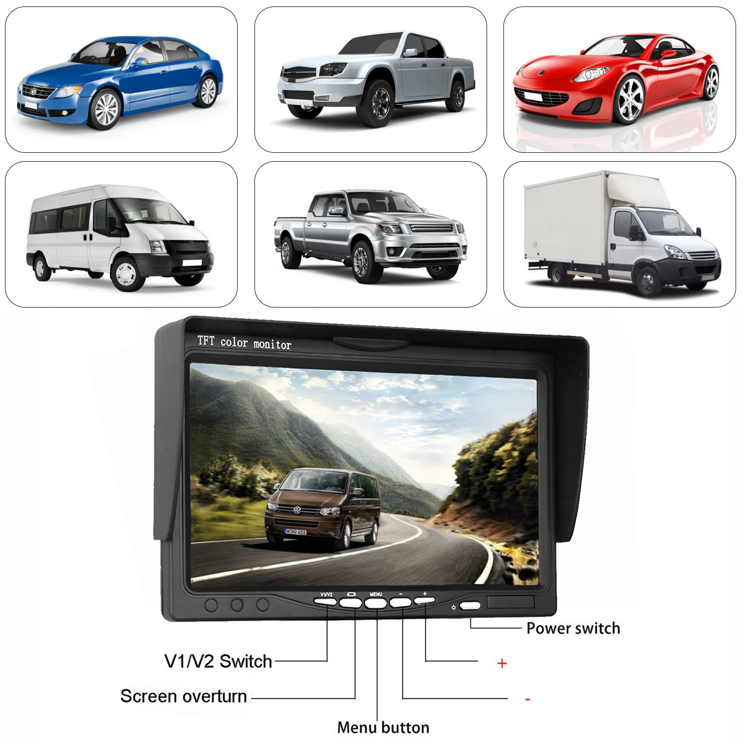 Leekooluu Backup Camera And 734 Monitor System For Car Suv Van Wiring Diagram Audi Q5 2016 Pickup Truck Rv Trailer Single Power Rear Side Front View Reversing Driving Use