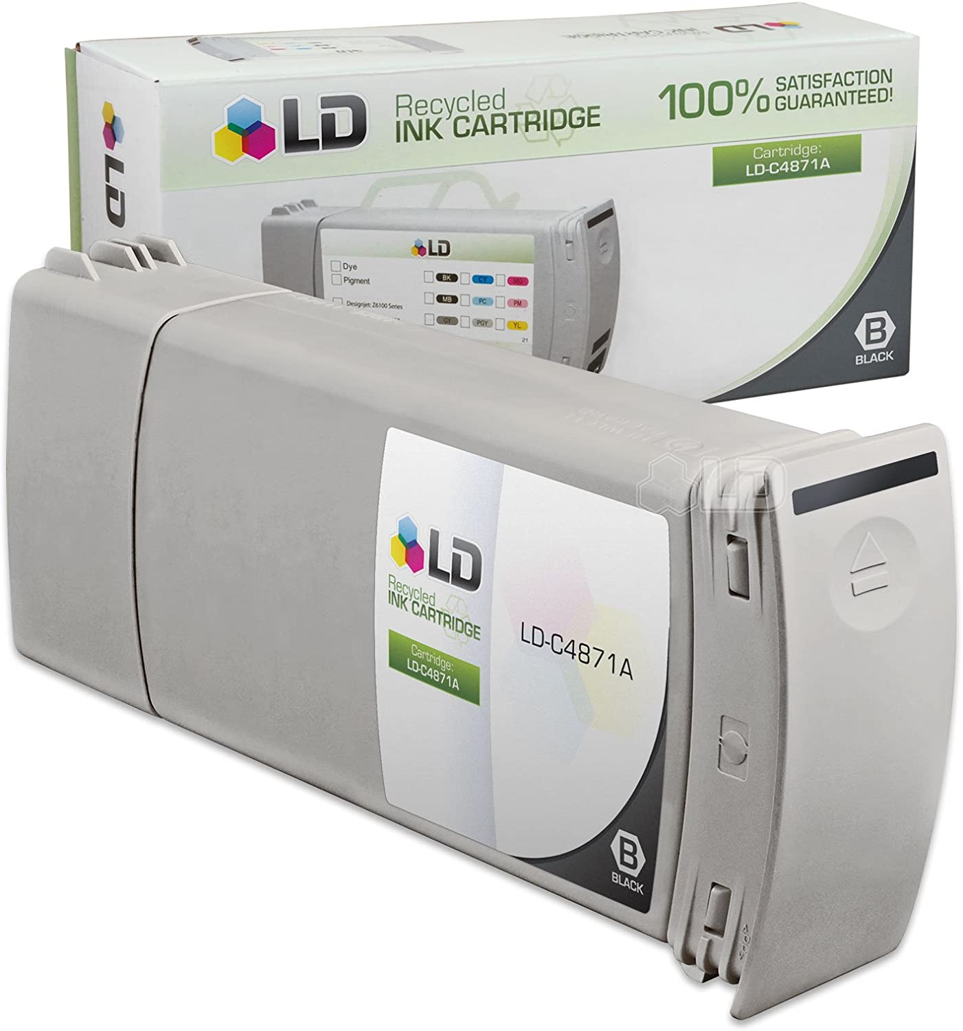 C4871A Black WORLDS OF CARTRIDGES Remanufactured Ink Cartridge Replacement for HP 80 for Use in DesignJet 1050//1055