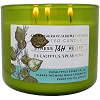 T & H Eucalyptus Spearmint Aromatherapy Candle Stress Relief Soy Wax Essential Oils 3-Wick Candle 80 Hour Burn 16 oz…