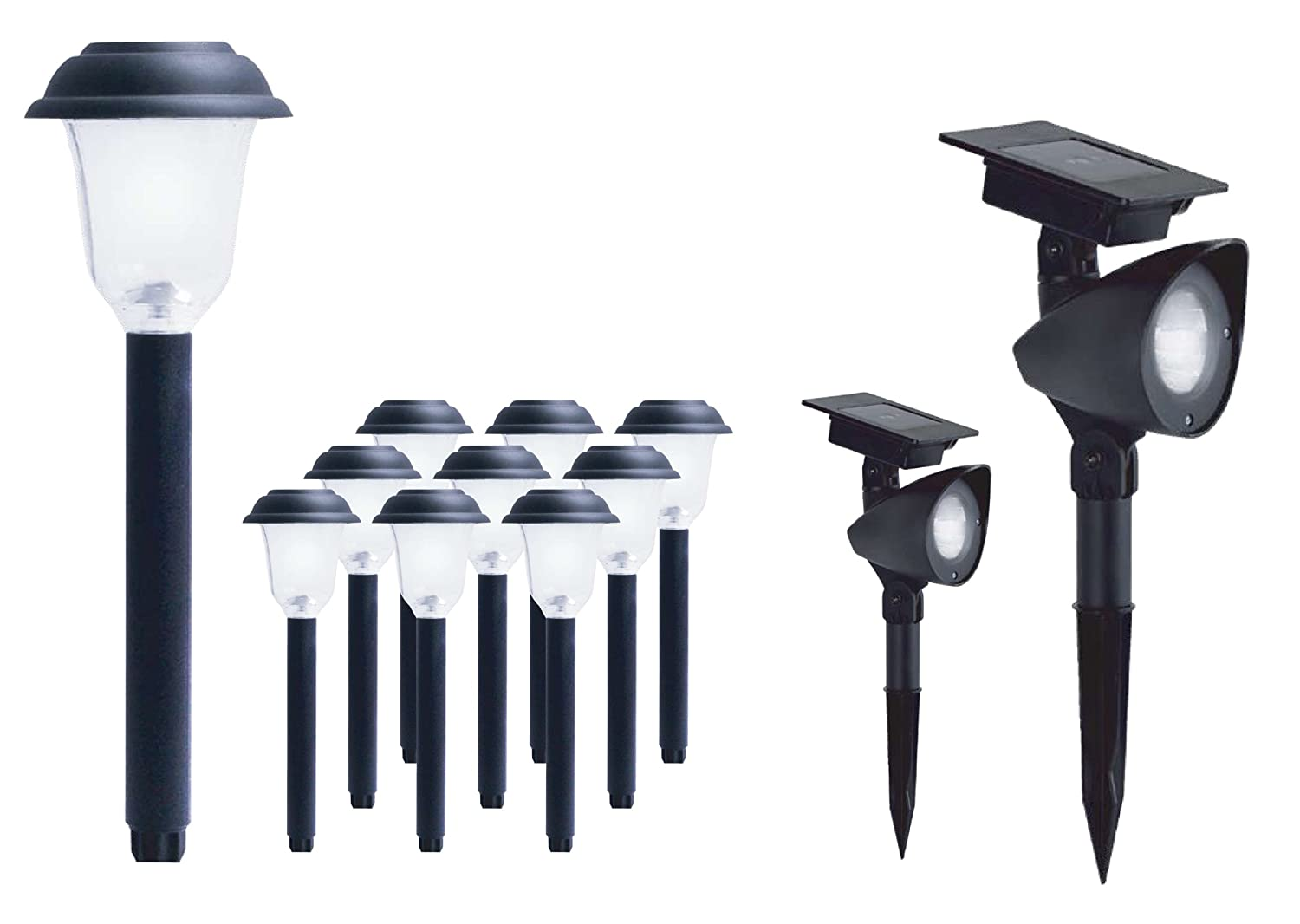 LED Solar Pathway & Spotlight Kit, Combo Pack = 10 Pathway Lights ...