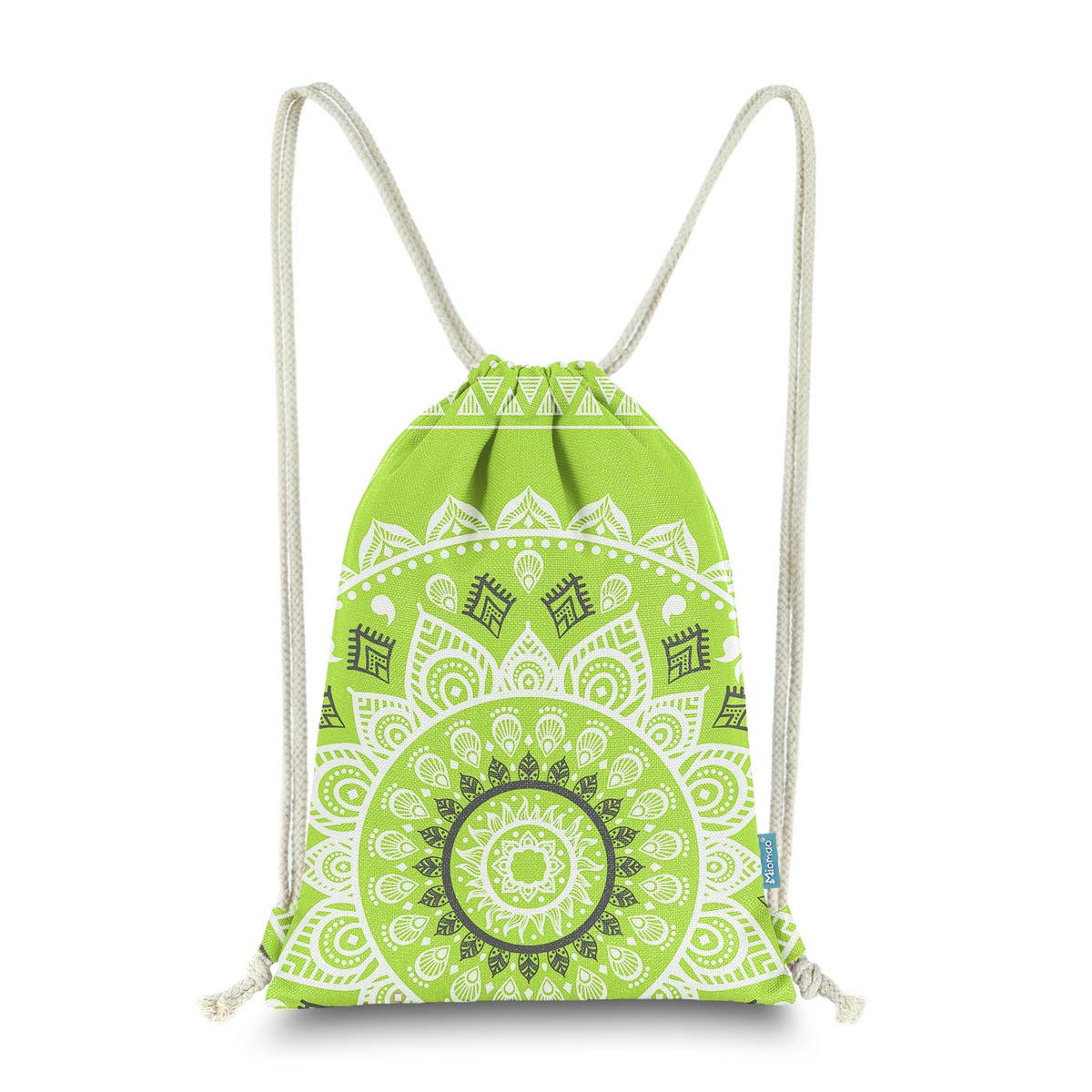 Miomao Drawstring Backpack Gym Sack Pack Mandala Style String Bag With Pocket Canvas Sinch Sack Sport Cinch Pack Christmas Gift Bags Beach Rucksack 13 X 18 Inches Fluorescent Green