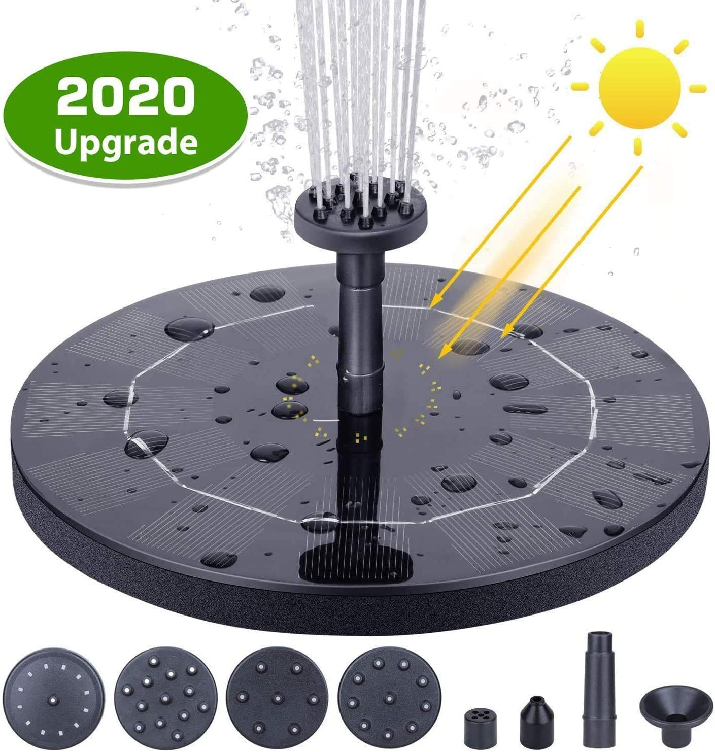 GuangDa Fuente Solar para baño de pájaros, Fuente de energía Solar de 1,5 W, Bombas de Agua flotantes para jardín, Patio, Estanque y Piscina