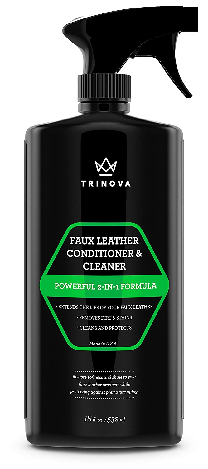TriNova Vinyl and Faux Leather Cleaner & Conditioner - Keep Seats, Jackets, Vinyl, Handbags, Sofas, Couches, Shoes, Boots & More Looking TriNova Faux C&C