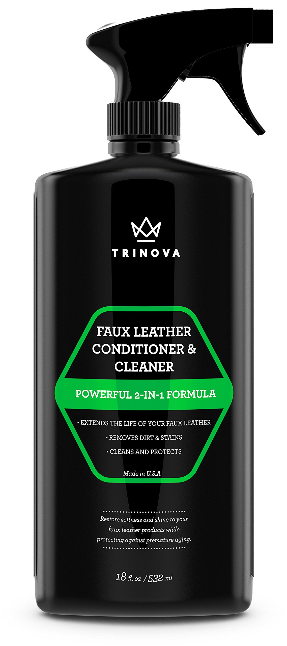 TriNova Vinyl and Faux Leather Cleaner & Conditioner - Keep Seats, Jackets, Vinyl, Handbags, Sofas, Couches, Shoes, Boots & More Looking New