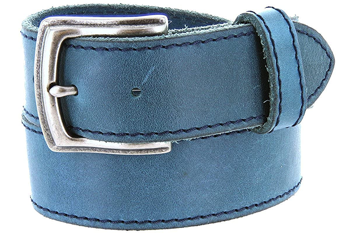 Pele Belt Men 1.5 Wide Full Grain Leather Stitched Edge Silver Finish Buckle