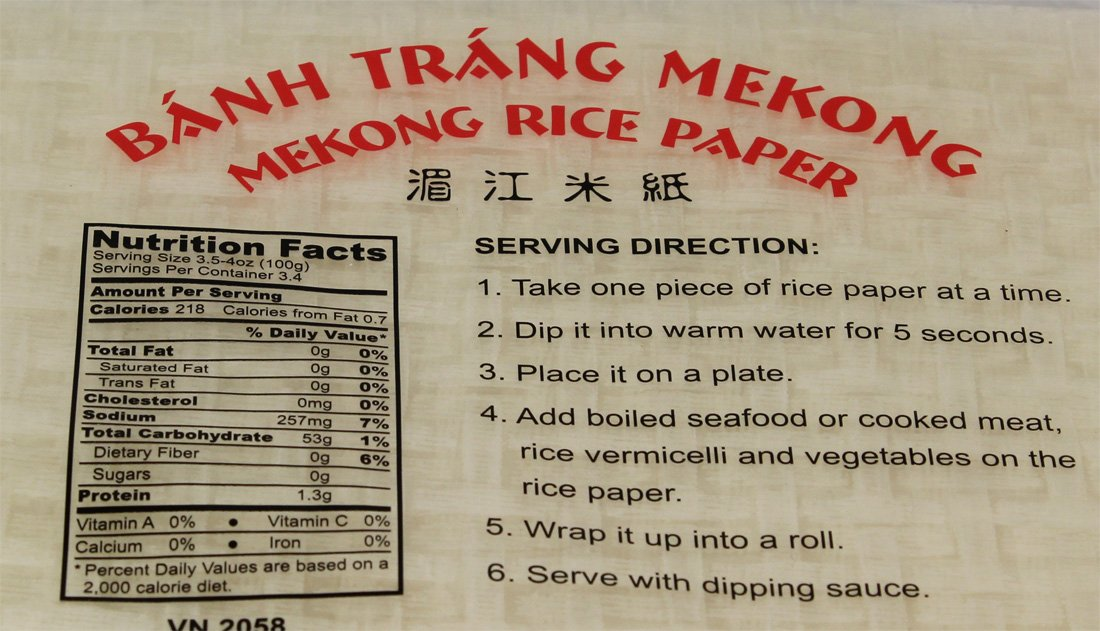 rice paper nutrition Rice paper is edible wafer paper made from potato starch, water and vegetable oil, used to line baking trays and prevent goods from sticking.