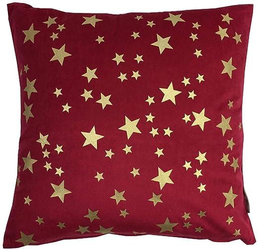 2X Relleno Navidad Metálico Stars Terciopelo Rojo Dorado 18 ...