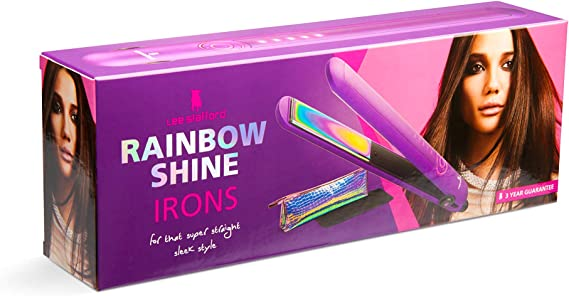 Lee Stafford Rainbow Shine Hair Straightener Wide Plate with Protective Mat 240C Variable Temperature Control Straightening Iron Short or Long