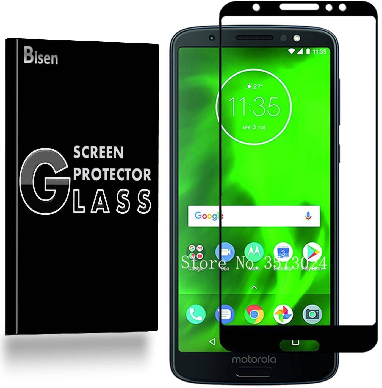 [2-Pack BISEN] Motorola Moto G6 Tempered Glass Screen Protector [Full Coverage], Edge-to-Edge Protect, Anti-Fingerprint, Anti-Bubble, Lifetime Protection