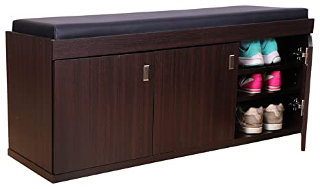 Hometown 3 Door Shoe Rack With Seat Wenge Amazonin Home Kitchen