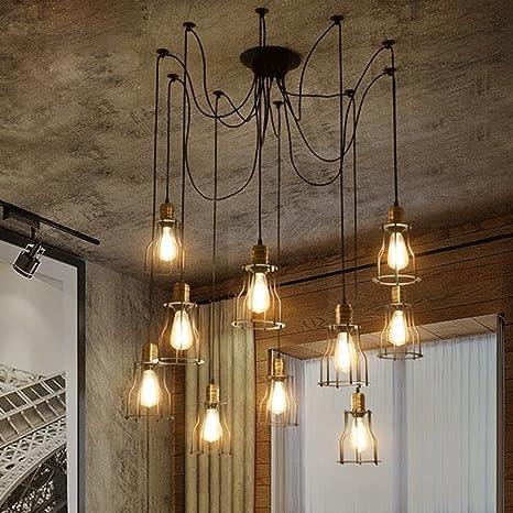 Nclon Industrial Vintage Lámpara de techo,Estilo americano Metal cage Lámpara colgante Comedor Dormitorio Creativo Lámpara colgante E27 Exclud de la ...