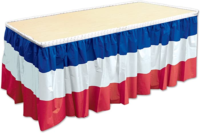 "Beistle Patriotic Table Skirting, 29"" x 14', Red/White/Blue"