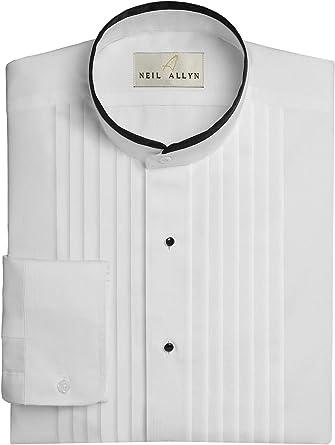 Neil Allyn Hombres de Cuello Bandas 1/2 Pliegues de Esmoquin Camisa con Ribete Negro: Amazon.es: Ropa y accesorios