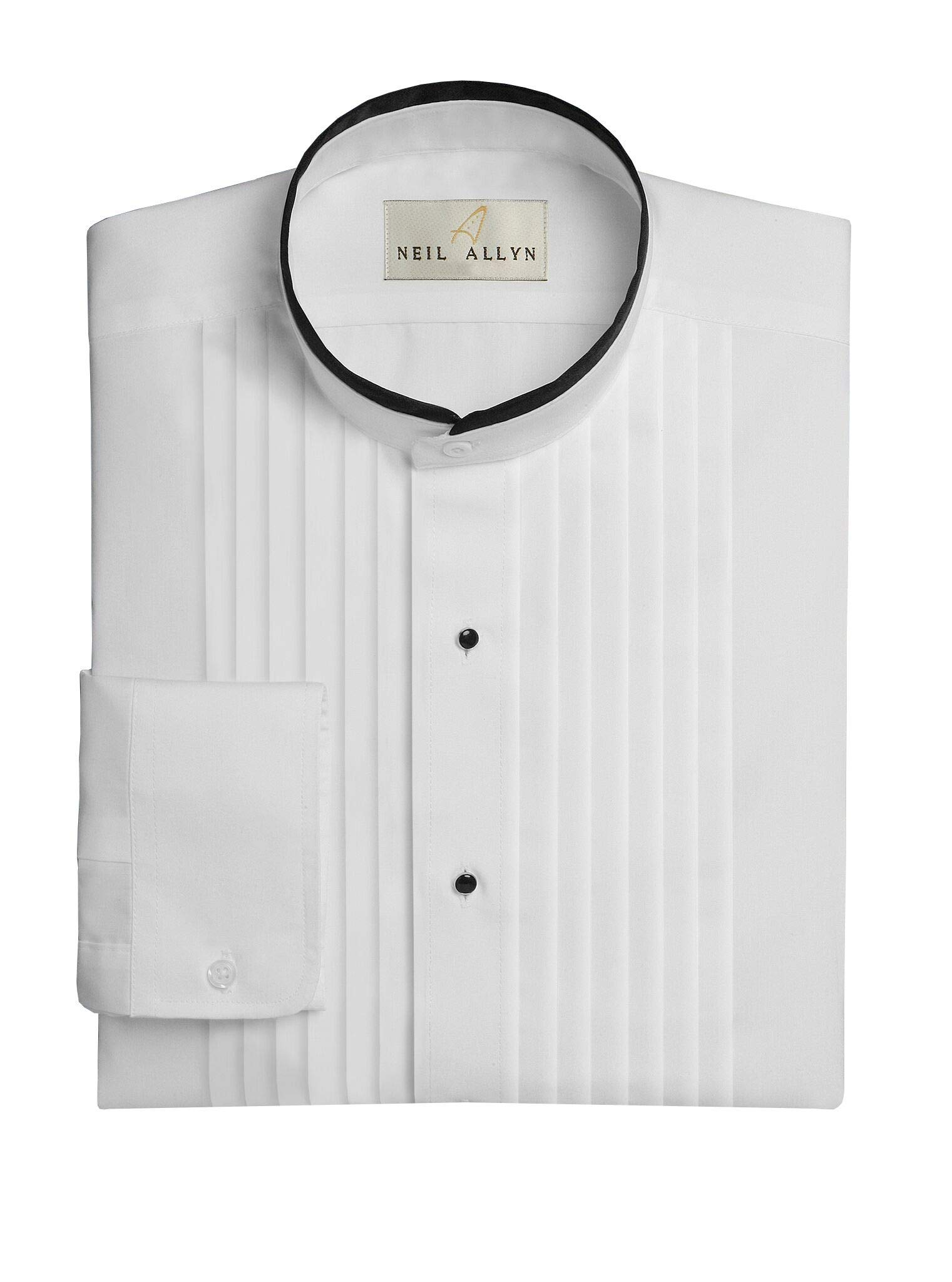 Neil Allyn Men's Banded Collar 1/2'' Pleats Tuxedo Shirt with Black Piping-3XL-36-37 by Neil Allyn