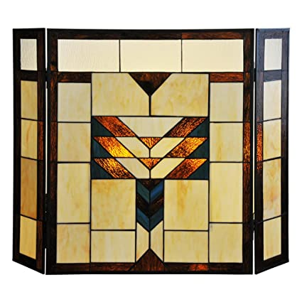 amazon com 26 h mission style stained glass fireplace screen home rh amazon com stained glass fire screens uk stained glass fire screens uk