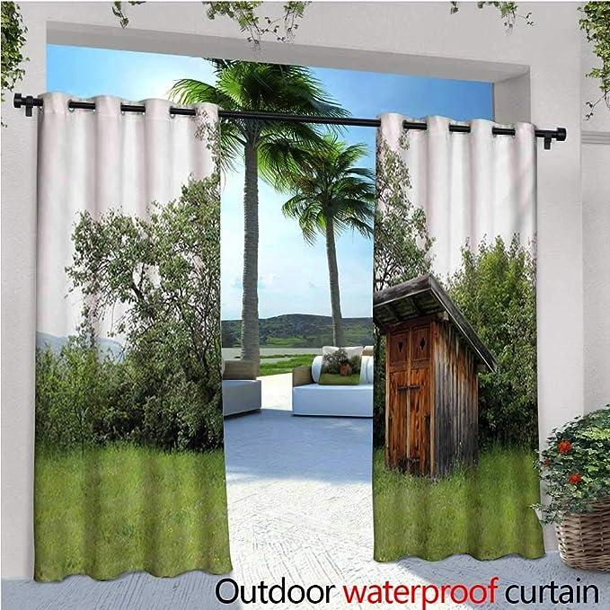 Homehot - Cortinas de exterior y exterior de madera, diseño de caseta de granero, caseta de granero, caseta en bosque natural, para patio, bloque de luz, resistente al calor, impermeable, color verde