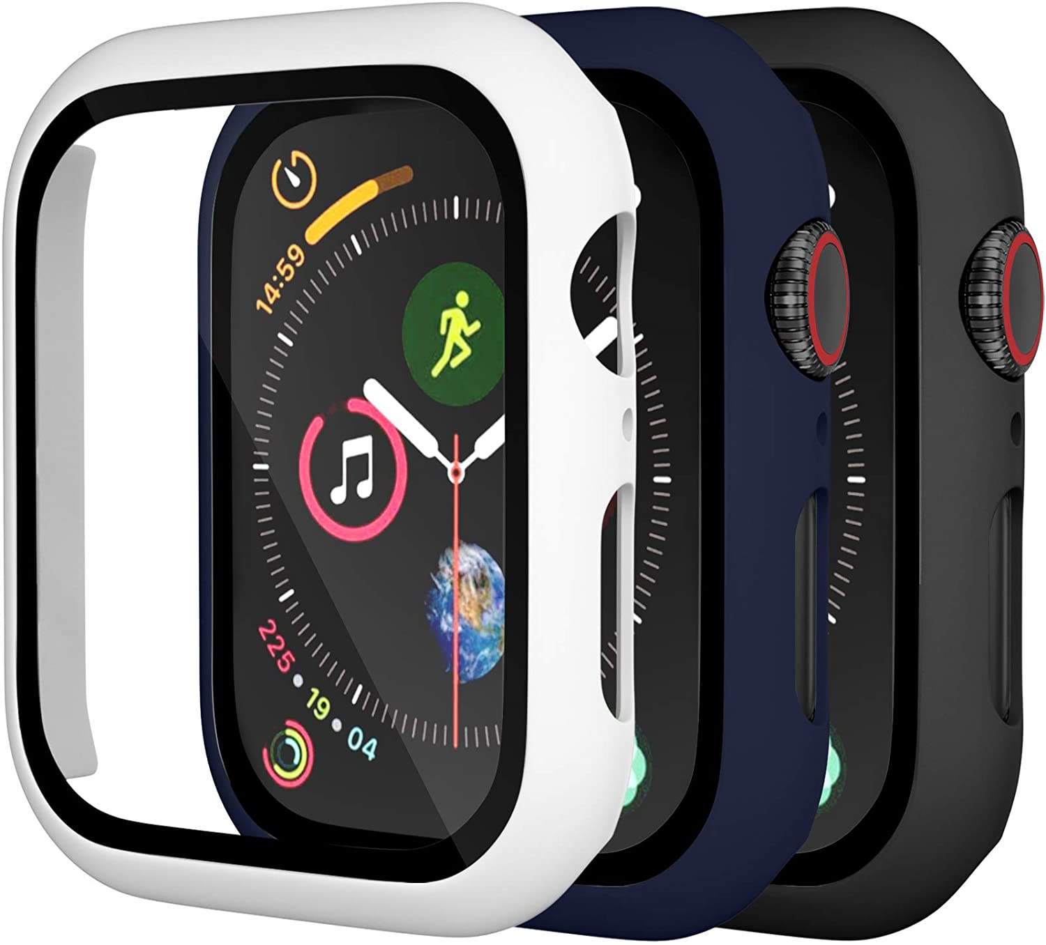 [3 Pack] Charlam Case Compatible with Apple Watch 40mm SE iWatch Series 6 5 4 with Screen Protector, All-Around Ultra-Thin Bumper Full Cover Hard PC Protective Case, Black, Navy Blue, White, 3 Pack
