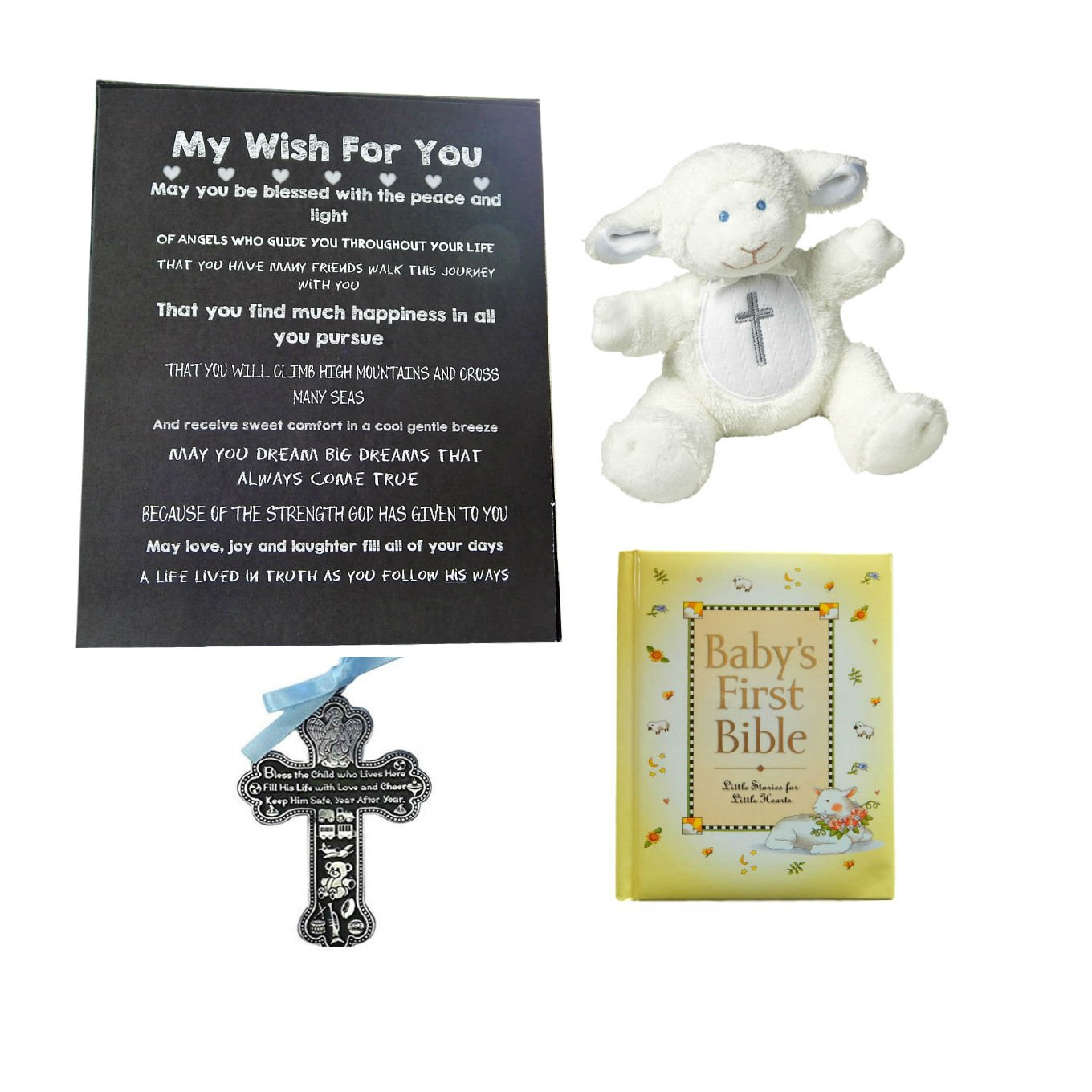 BigDream Catholic Baptism Gift for Baby Boy (Blue Cross)