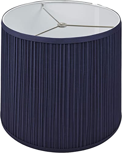 FenchelShades.com Lampshade 12 Top Diameter x 14 Bottom Diameter x 12 Slant Height with Washer Spider Attachment for Lamps with a Harp Pleated Navy