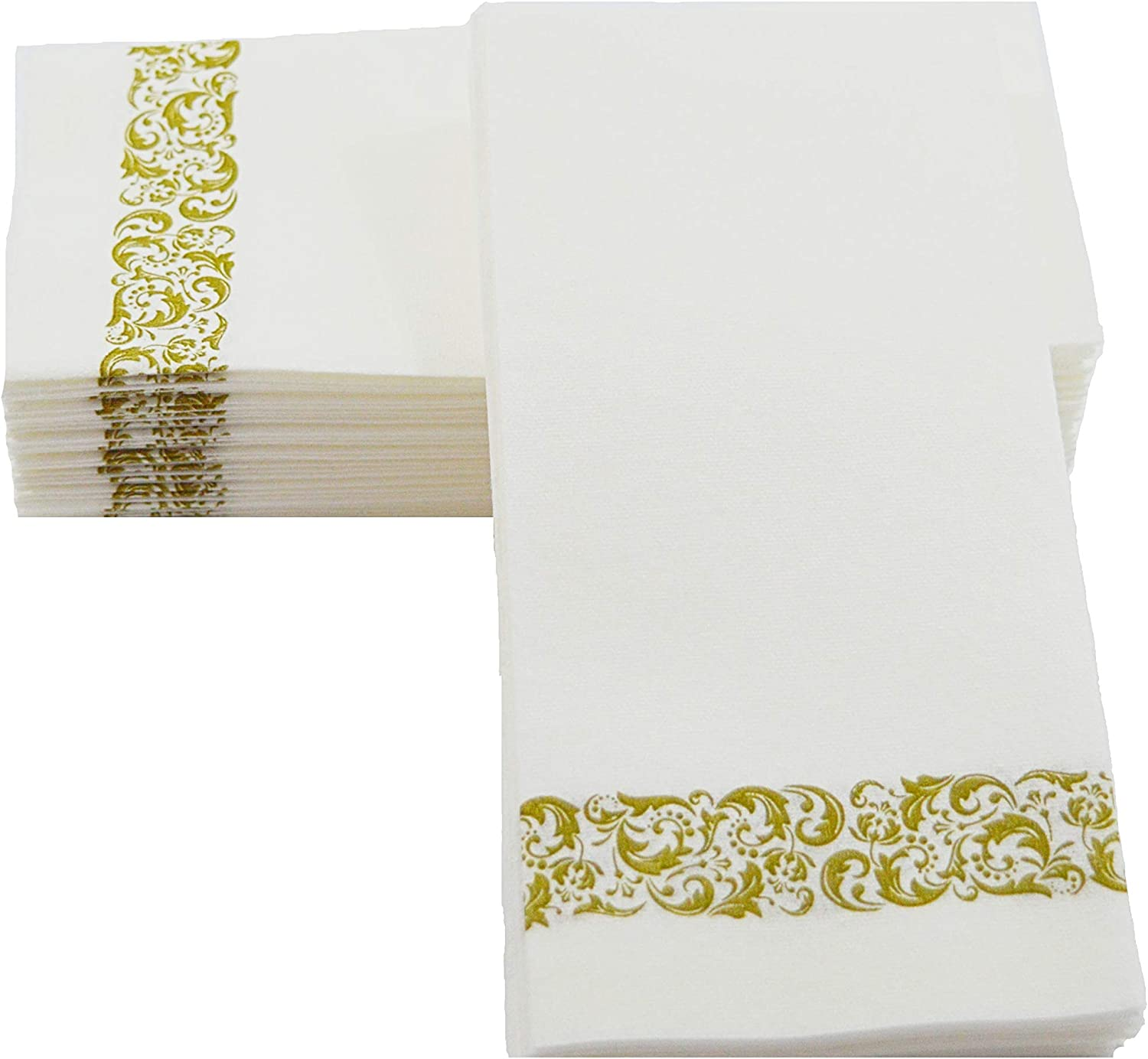 100 The Best Quality Elegant Disposable Guest Napkins | Soft and Absorbent Linen-Feel Hand Napkins | Durable Decorative Bathroom Hand Napkins | Good for Kitchen, Parties, Weddings, Dinner or Events