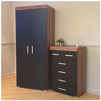 Magnificent Drp Trading 2 Door Wardrobe 4 2 Drawer Chest In Black Walnut Bedroom Furniture Set 6 Draw Complete Home Design Collection Epsylindsey Bellcom
