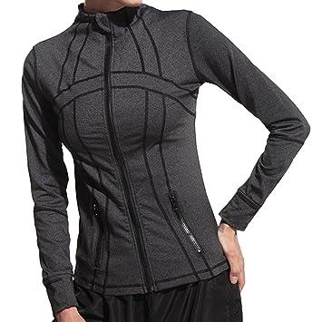 zearo Mujeres manga larga Camisetas de yoga yoga estrechos Abrigos Ropa Deportiva Fitness Sport Chaqueta Fitness