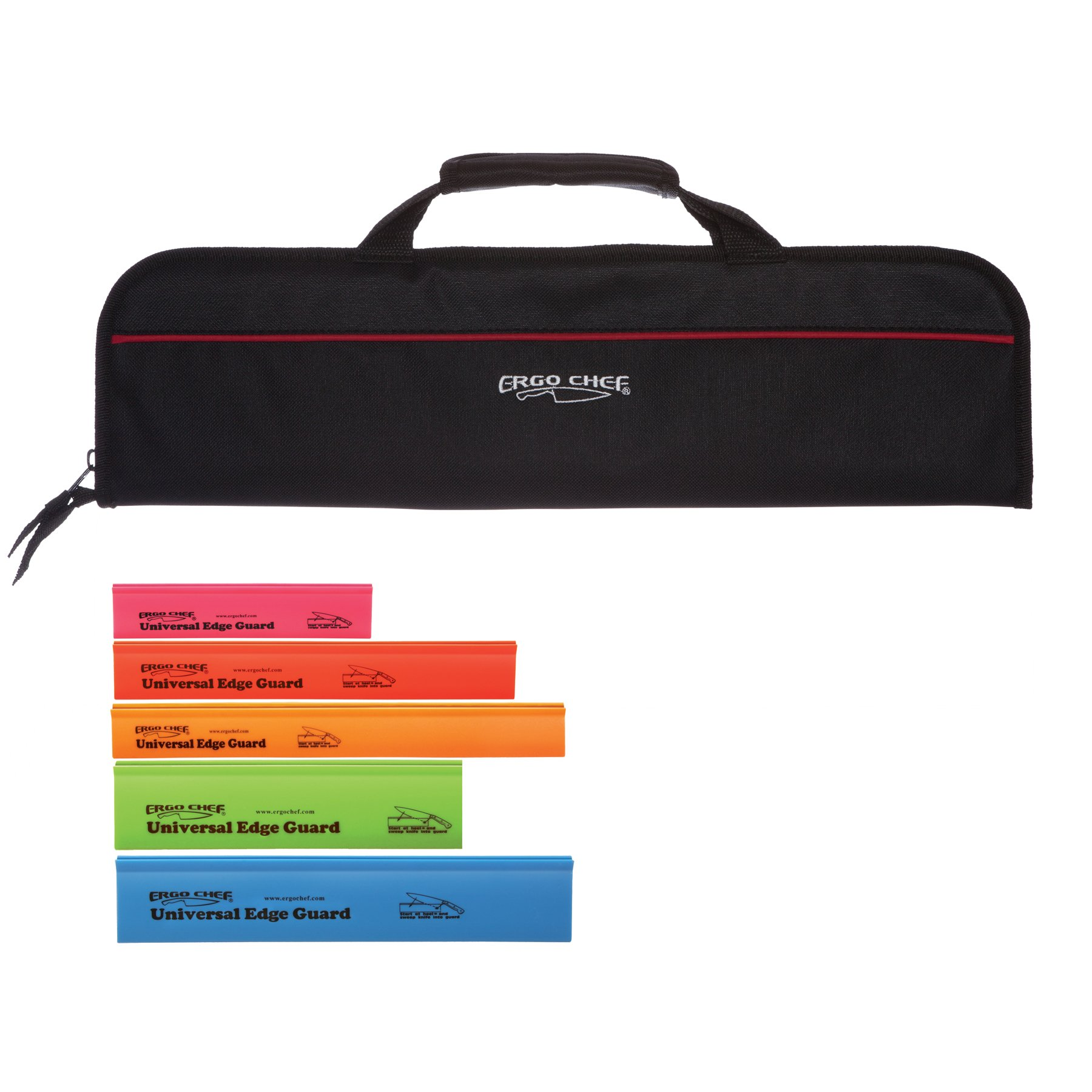 5 Pocket Padded Chef Knife Case Roll with 5 pc. Edge Guards (Black 5 Pocket bag w/5pc. Multi-Color Edge guards)