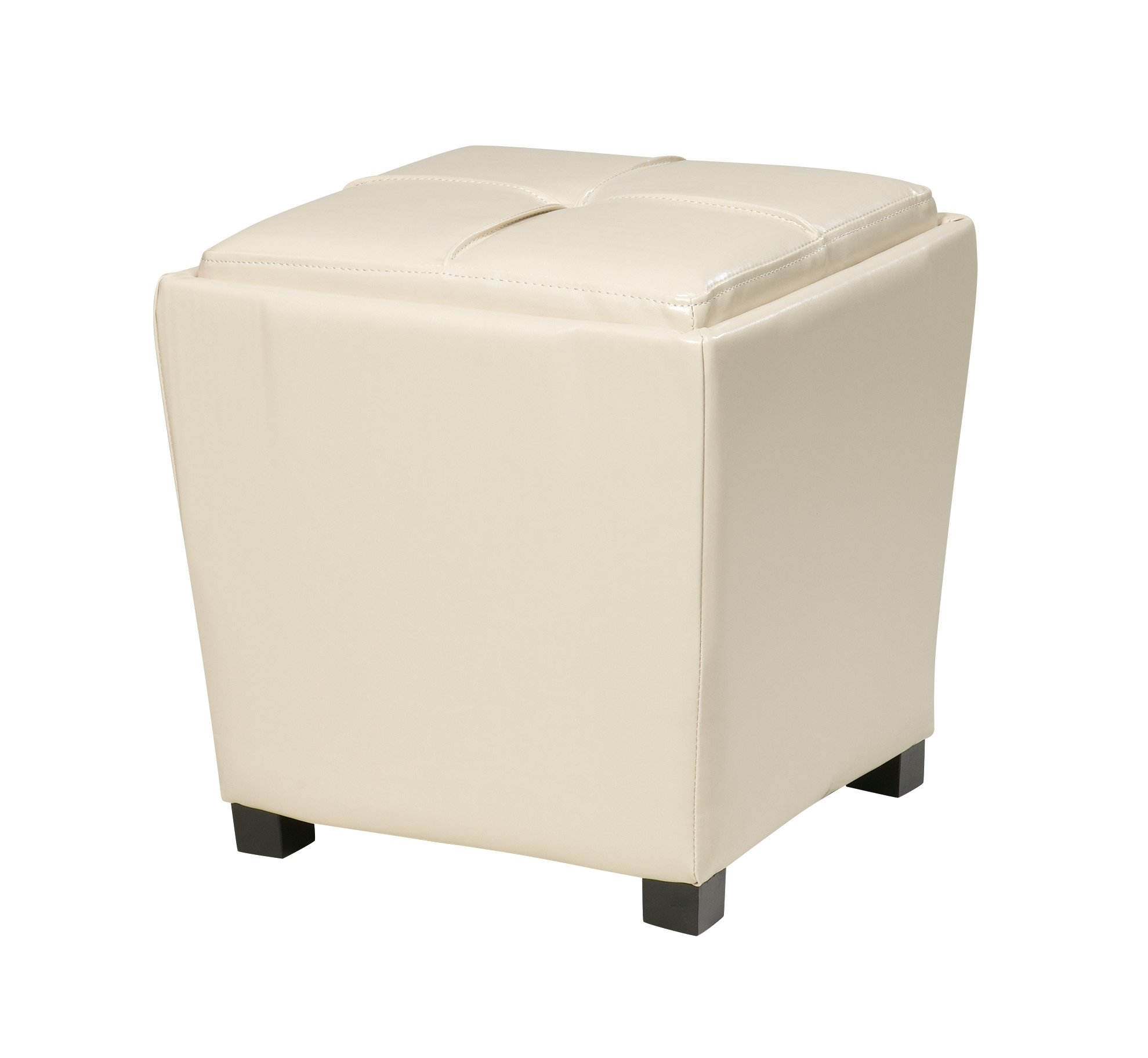OSP Designs Office Star Metro 2-Piece Storage Ottoman Cube Set in Eco Leather, Cream