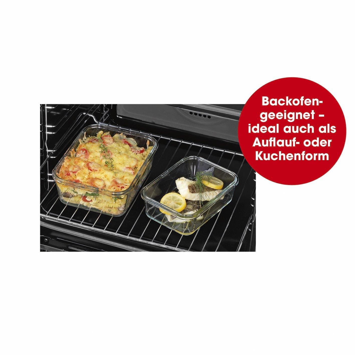 Adatto per forno a microonde Gourmet Maxx Contenitori di vetro di clic IT 4 Dosen /& 4 Deckel congelatore e lavastoviglie Trennwand Trasparente aria Poeta Aroma protezione