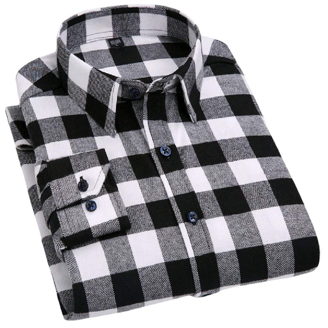 SportsX Mens Long Sleeve Plus Size Heathered Check Tees Work Shirt