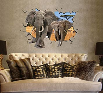 ufengke® 3D Afrikanische Elefanten Wandsticker, Wohnzimmer ...