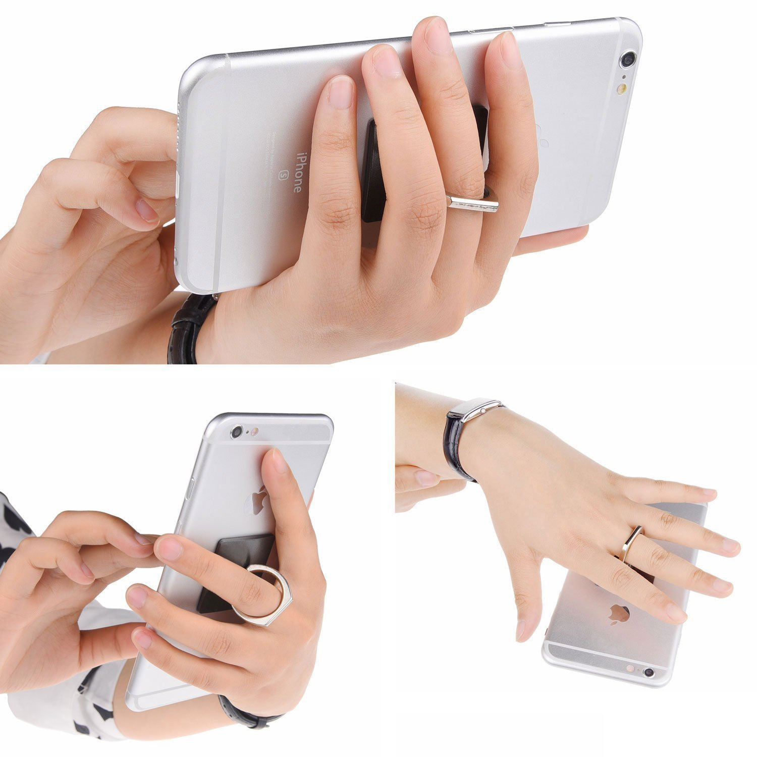 Phone Ring Grip & Stand - 2in1 - 2 Pieces, with Car Mount - For all Phones/Tablets with a Flat Rear Surface - 360 Rotate - Never Drop Your by Trenro (Image #3)