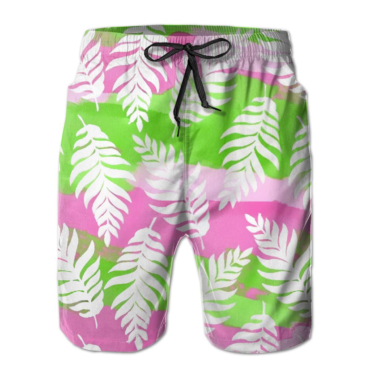 Airealy Men/¡/¯s Summer Beach Trunks Leaf Drawstring Elastic Waist Quick Dry Surfing Beach Board Shorts