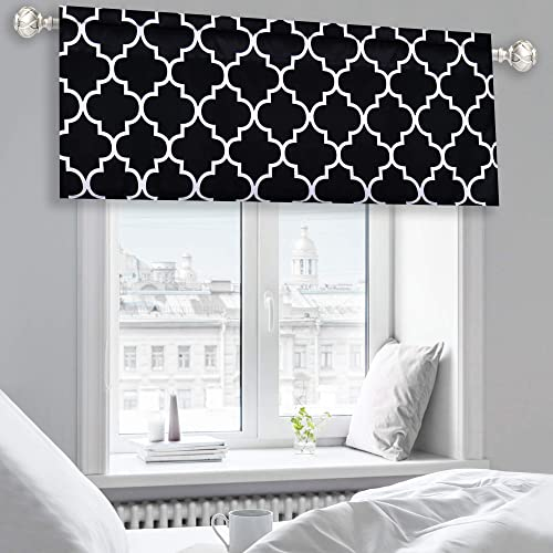 KEQIAOSUOCAI Moroccan Fashion Room Darkening Rod Pocket Window Curtain Valance for Kitchen Dining Living Room Bathroom Kids Girl Baby Room – 52 by 18 Inches Long Black and White 1 Piece