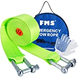 FMS Towing Belt, Tow Rope up to 5 Tonne, 3.8 Metre Long, Nylon Recovery Heavy Duty Tow Strap with 2 Safty Hooks, with Free Carry Case