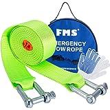 FMS Nylon Eslinga Cuerda de Remolque Resistencia 5 Ton, 3,8m longitud, Coche remolque Correa de Cuerdas para Remolque Resistente con 2 Grilletes