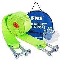 FMS Superstretch Abschleppseil , Schleppseil bis 5 Tonne, 3,8 Meter lang, Nylon Erholte Schwerlastschlepper mit 2 Haken (Grün)