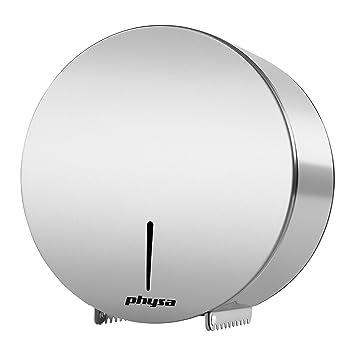 Physa FOGGIA SILVER Dispensador de papel higiénico plateado (acero inoxidable, para rollos extra grandes, con cerradura): Amazon.es: Hogar
