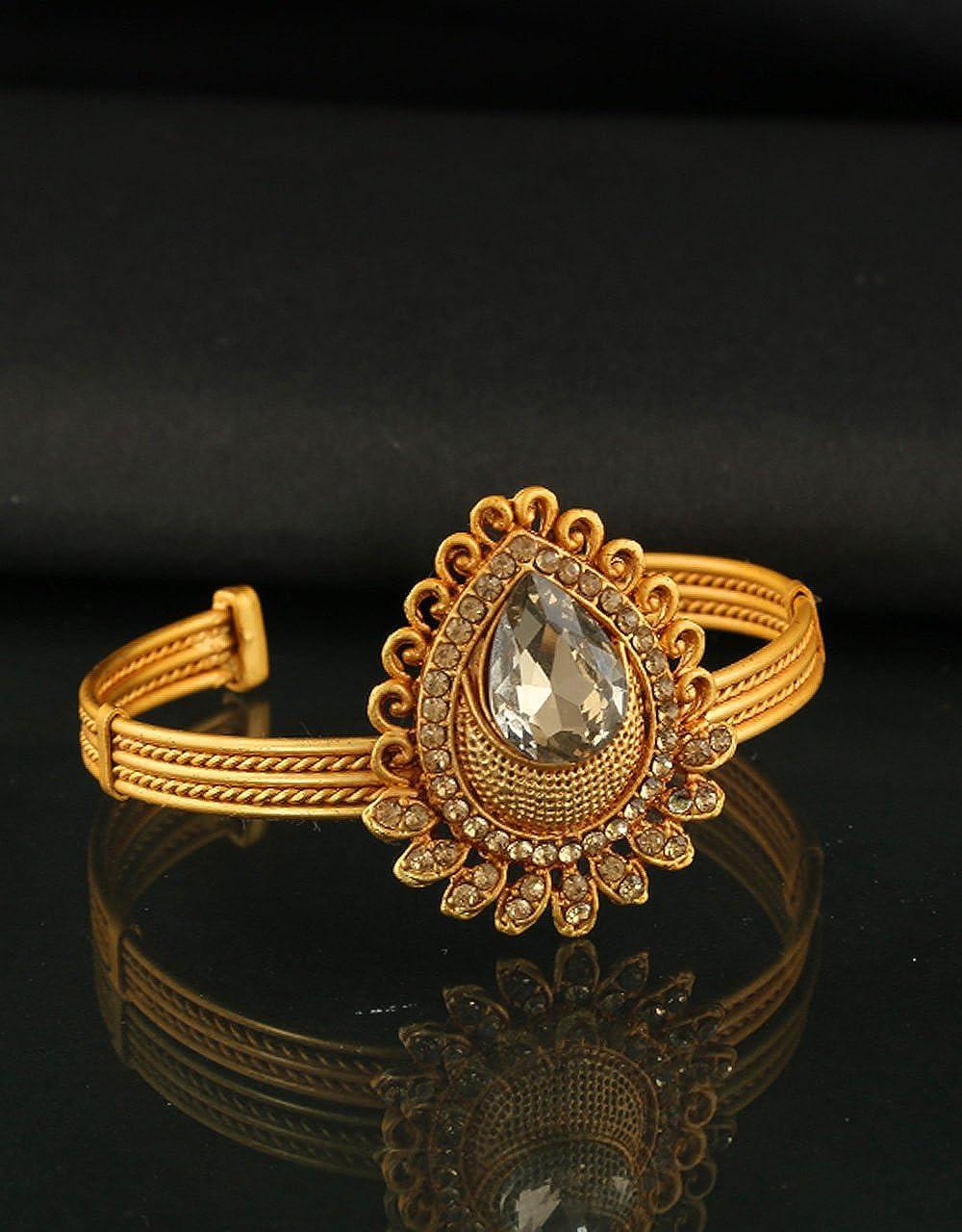 Anuradha Art Gold Finish Droplet Shape Styled with Sparkling Stone Wonderful Traditional Hand Bracelet//Kada Bangles for Women//Girls