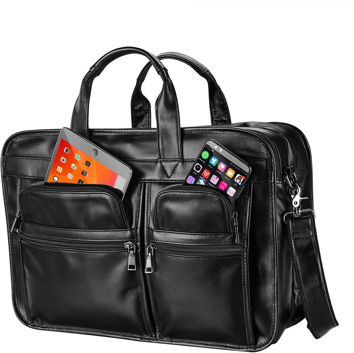Mens Leather Briefcase Laptop Messenger Business Travel Shoulder Bag Fits 15 to 17 inch Laptop Black