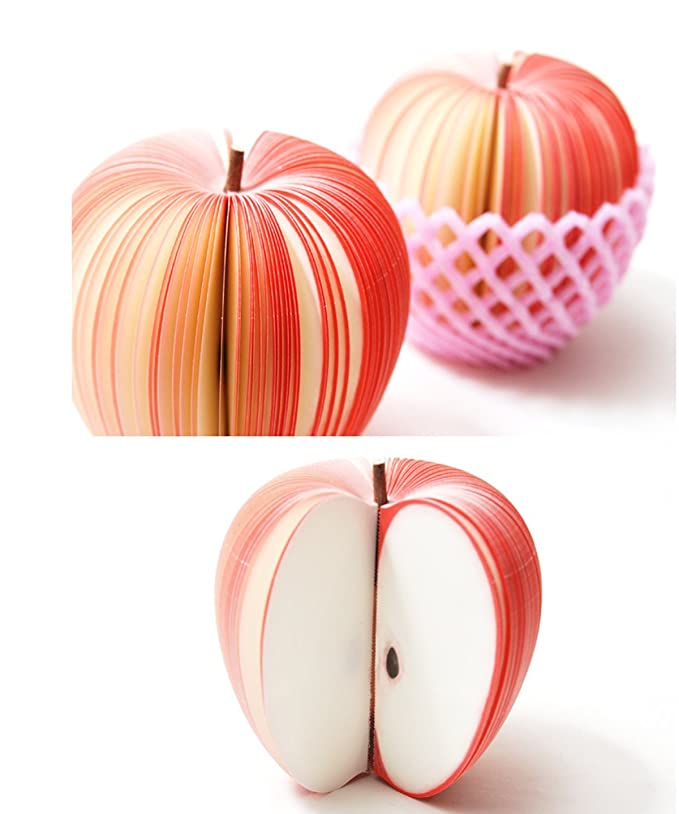 140Pages Cute 3D Fruit Apple Memo Pad Sticky Notes Sticker Marker Notepad UK