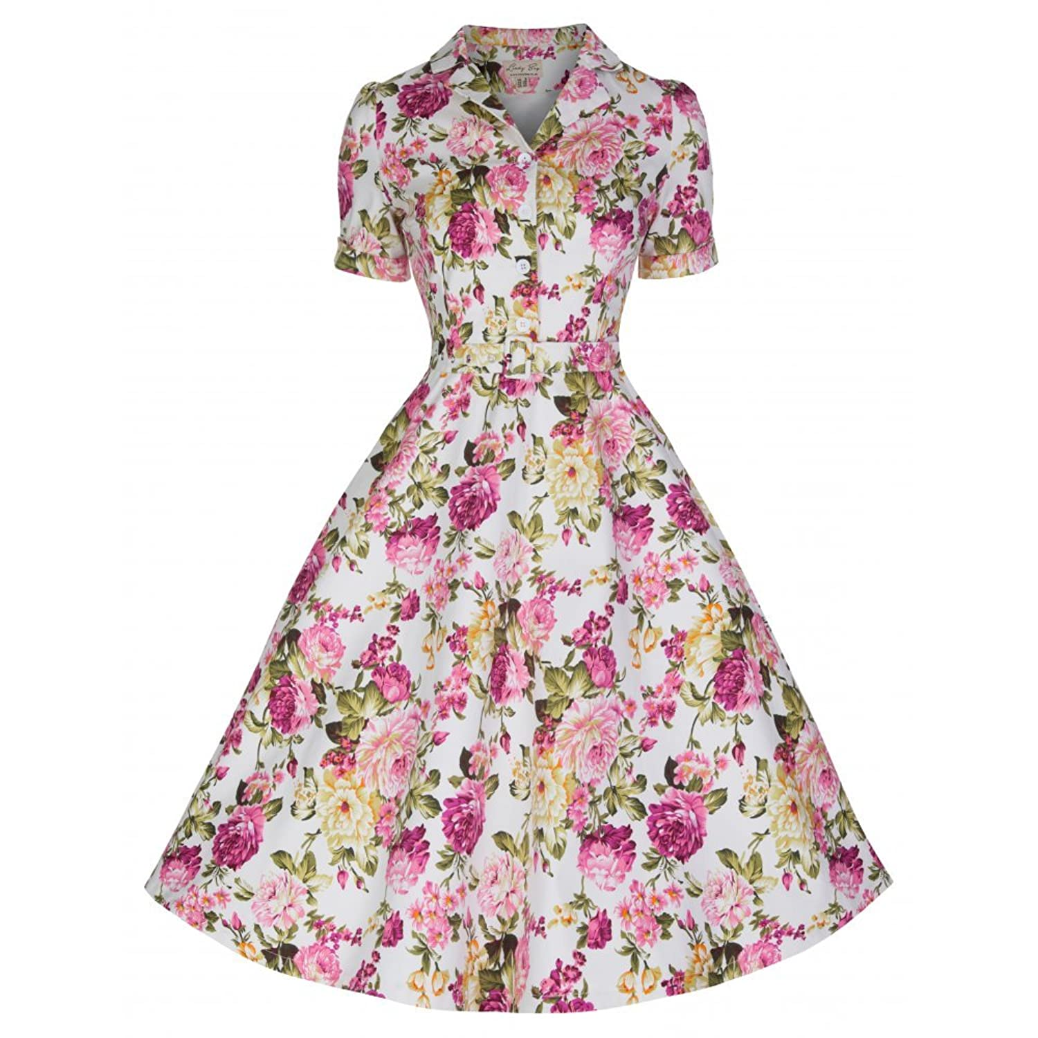 1950s Swing Dresses Lindy Bop Uma White Floral Tea Dress £18.79 AT vintagedancer.com