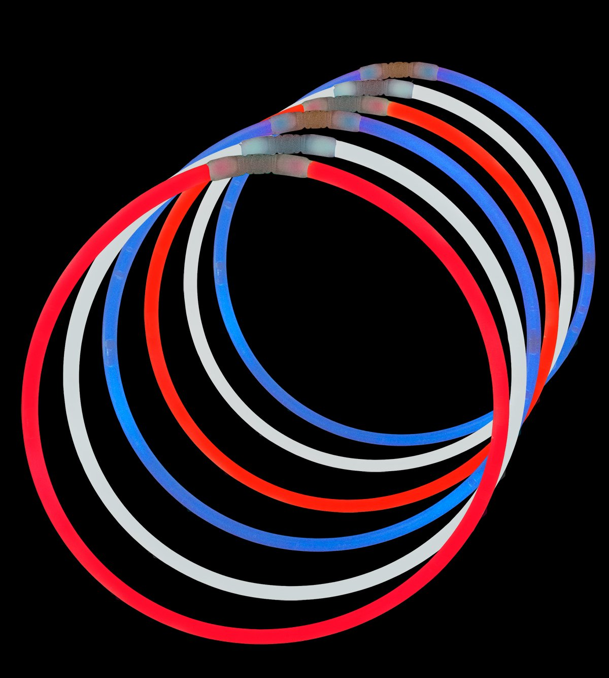 Lumistick 22 Inch Glow Stick Necklaces   Safe & Non-Toxic Light Up Premium Super Bright Glowstick   Perfect for 4th of July Independence Celebration - Tri-Color Red, White & Blue (150 Glowsticks)