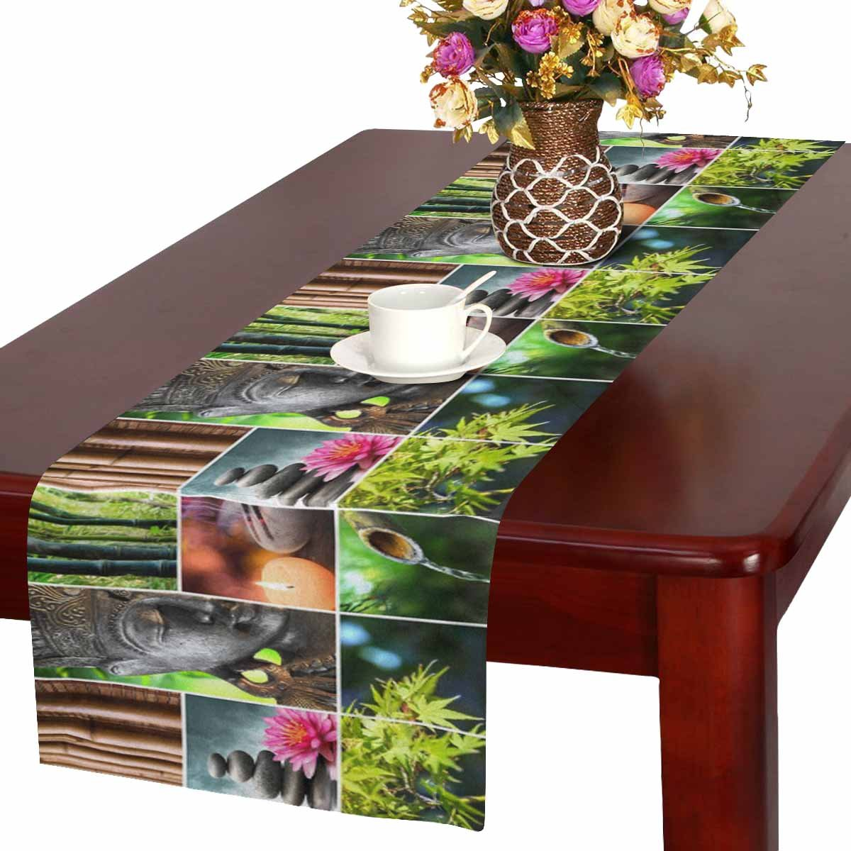 InterestPrint Spa Theme Oriental Culture Mosaic with Buddha and Bamboo Nature Table Runner Cotton Linen Home Decor for Home Kitchen Wedding Party Banquet Decoration 16 x 72 Inches