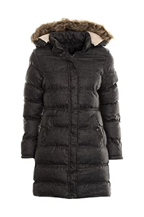 Women's Long Puffer Jacket Coat Ladies Faux Fur Hooded Padded Quilted  Winter Jacket Parka (8