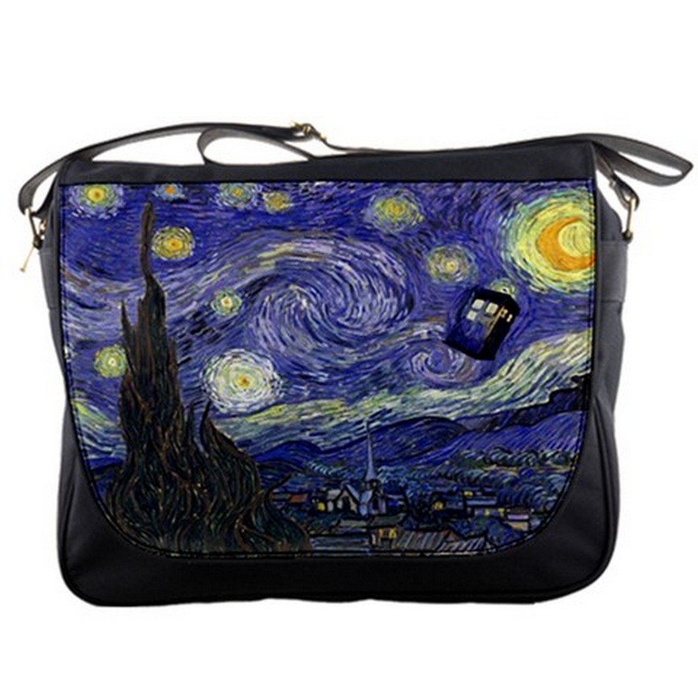 Doctor WHO Tardis Police Call Box Starry Night Van Gogh Messenger Shoulder Bag Quinn Cafe