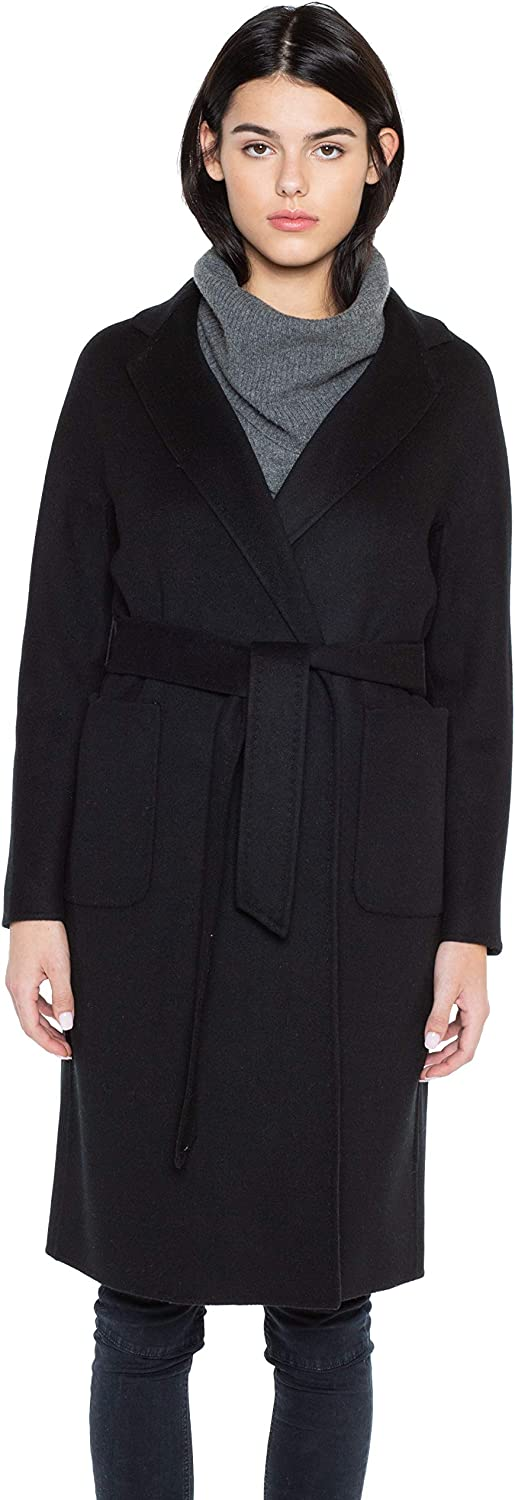 JENNIE LIU Women's Cashmere Wool Double Face Trench Coat with Belt: Clothing